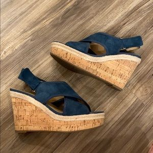 Franco Sarto Blue Suede Wedge Sandals